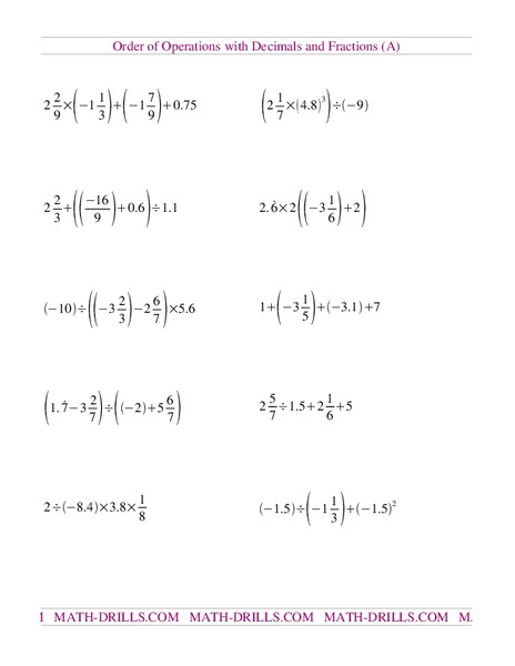 Order Of Operations With Decimals And Fractions A