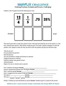 Ordering Fractions, Decimals and Percents Worksheet