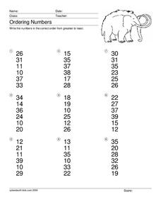 Ordering Numbers Worksheet