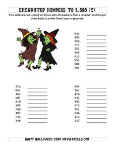 Ordering Numbers to 1000 (C) Worksheet