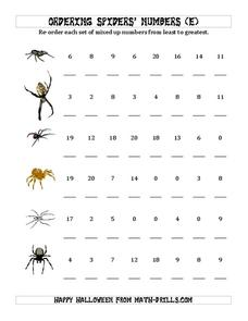 Ordering Numbers to 20 Worksheet