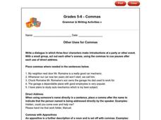 Other Uses for Commas Worksheet
