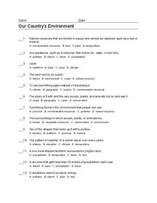 Our Country's Environment Worksheet