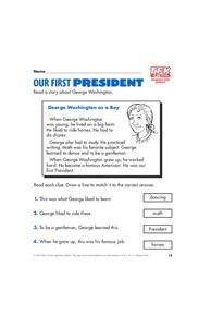 Our First President Lesson Plan