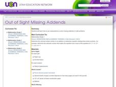 Out of Sight Missing Addends Lesson Plan