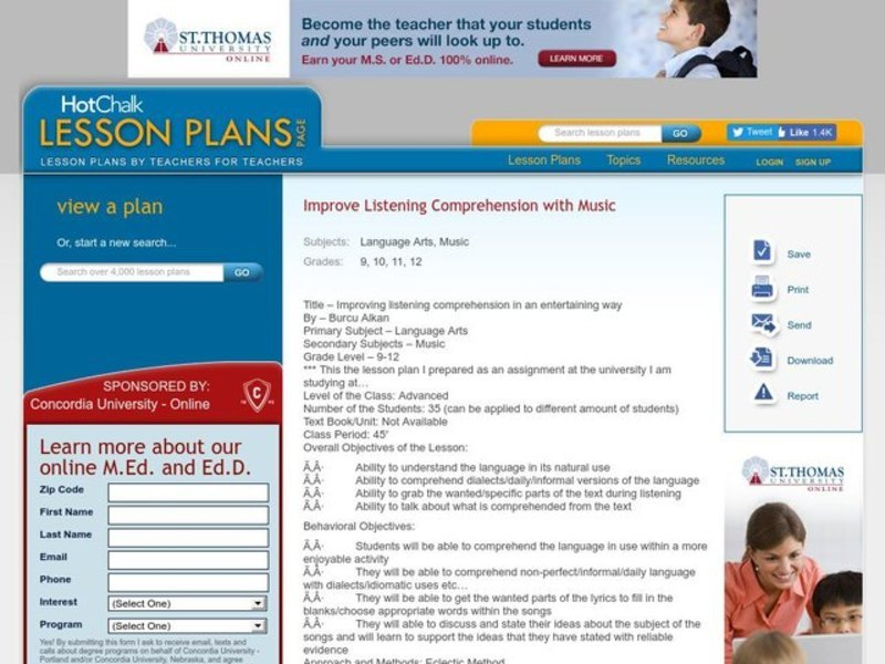 Improving listening comprehension in an entertaining way Language Arts Lesson Plan Lesson Plan