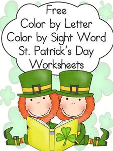 Color by Letter, Color by Sight Word—St. Patrick's Day Worksheet