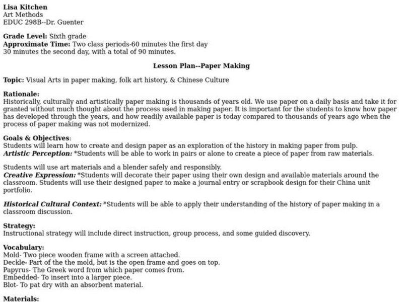 Paper Making Lesson Plan