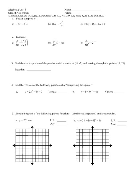 Parabolas Worksheet for 11th Grade | Lesson Planet