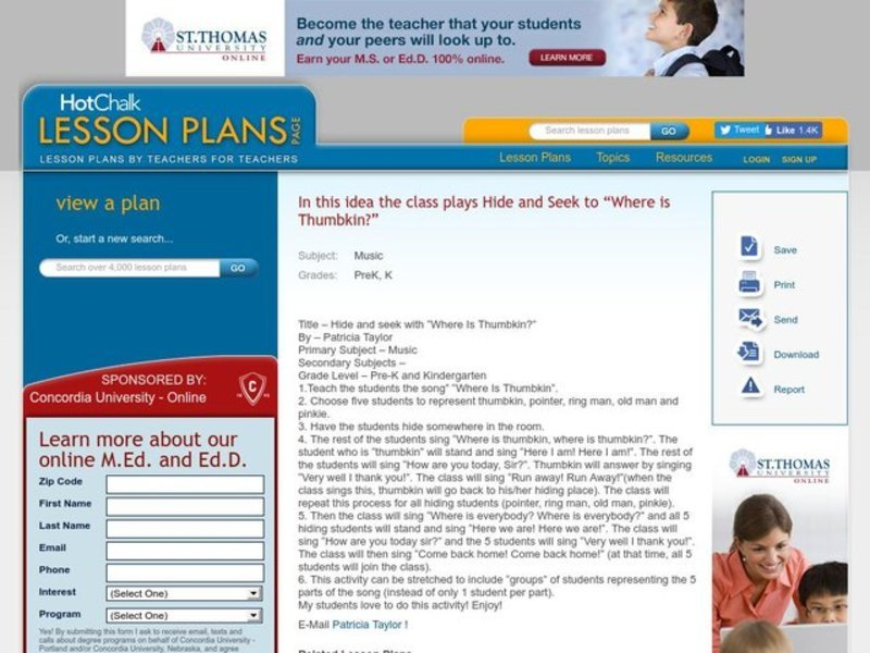 Hide and seek with  Where Is Thumbkin?  - Music Lesson Plan Lesson Plan