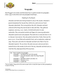 Paragraphs Lesson Plan