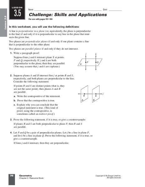 Parallel And Perpendicular Lines Worksheet For 9th 10th