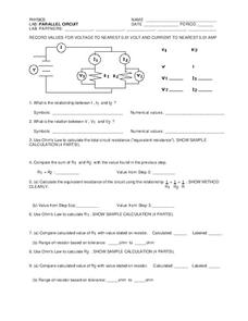 Parallel Circuit Worksheet