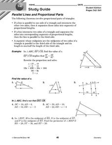 Parallel Lines and Proportional Parts Worksheet