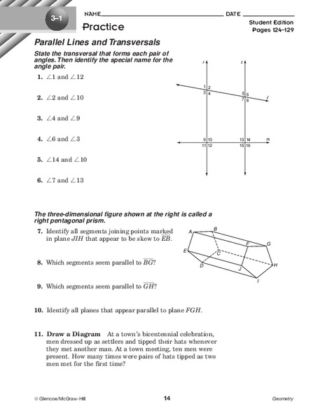 Parallel Lines And Transversals Worksheet For 10th Grade