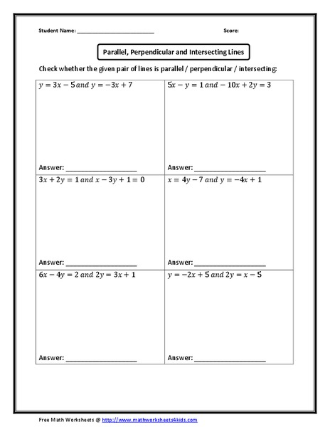 parallel perpendicular and intersecting lines worksheet for 8th