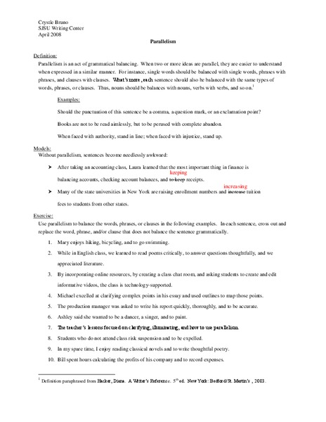Parallelism Worksheet For 9th 12th Grade Lesson Planet