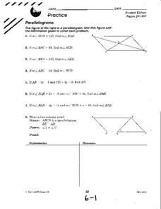 Parallelograms Worksheet