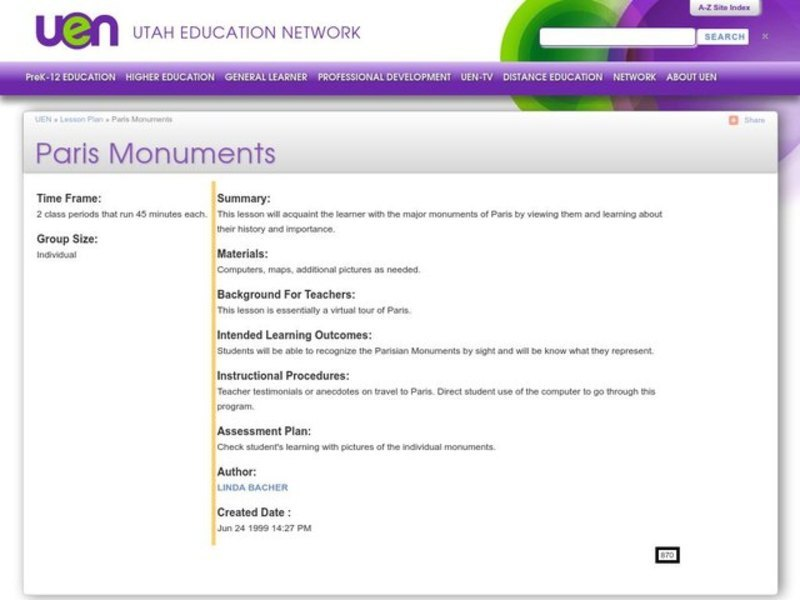 Paris Monuments Lesson Plan