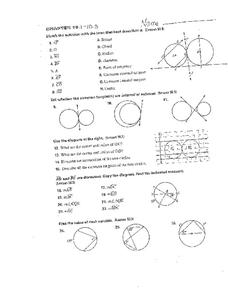 Parts of a Circle Worksheet