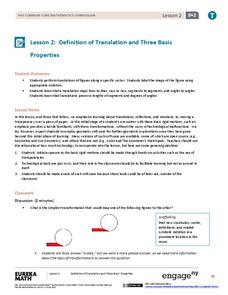 Definition of Translation and Three Basic Properties Lesson Plan