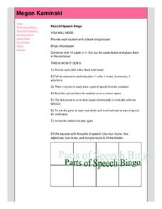 Parts of Speech Bingo Lesson Plan