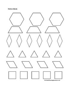 image relating to Printable Pattern Blocks titled Habit Blocks Printables Template for Pre-K - 2nd Quality