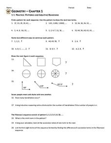 Patterns and Inductive Reasoning Worksheet