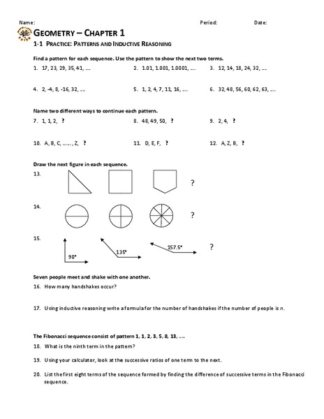 Patterns and Inductive Reasoning Worksheet for 10th Grade | Lesson ...