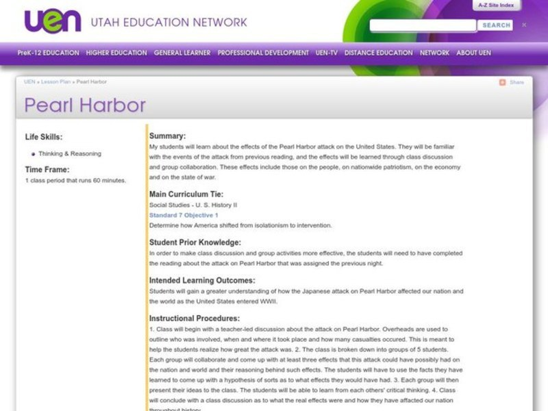 Pearl Harbor Lesson Plan