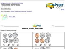 Pennies, Nickels, and Dimes Worksheet