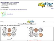 Pennies, Nickels, and Quarters Worksheet