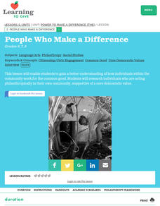 People Who Make A Difference Lesson Plan