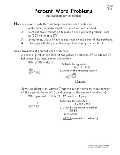 Percent Word Problems Worksheet For 5th 8th Grade Lesson Planet