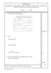 Percentages Worksheet