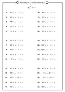 Percentages of Whole Numbers Worksheet
