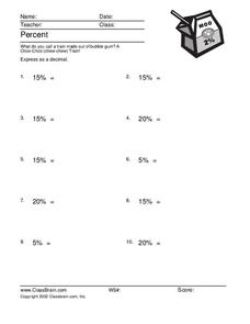 Percents Worksheet