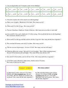 Percents and Fractions Worksheet