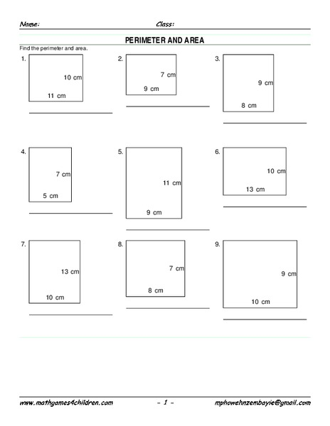 Perimeter And Area Worksheet For 6th Grade Lesson Planet