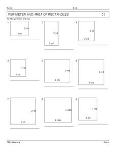 Perimeter And Area of Rectangles Worksheet