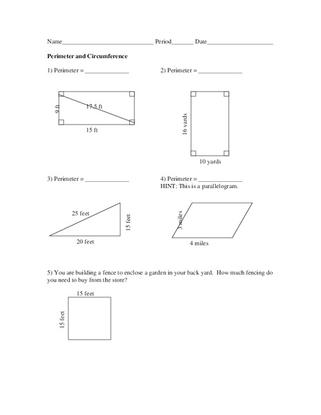 Perimeter and Circumference Worksheet for 10th Grade