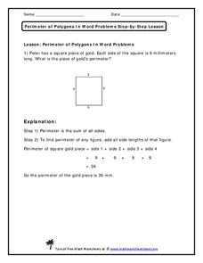 Perimeter of Polygons in Word Problems Worksheet