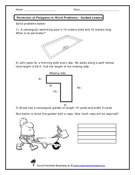 Perimeter Of Polygons In Word Problems Worksheet For 2nd