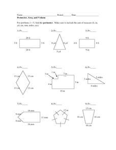 Perimeter, Area and Volume Worksheet