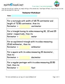 Perimeter Worksheet Worksheet