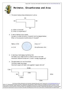 Perimeter, Circumference and Area Worksheet