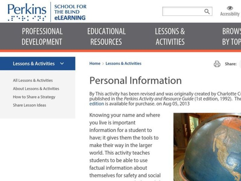 Personal Information Lesson Plan