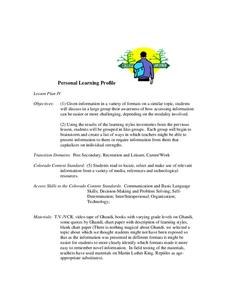 Personal Learning Profile Lesson Plan