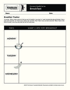 Personal Health: Breakfast Worksheet