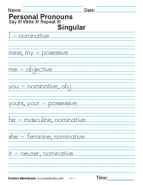 Personal Pronouns Worksheet for 1st - 3rd Grade | Lesson Planet